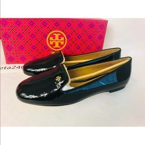 Tory Burch Black Patent Leather Samantha Loafers